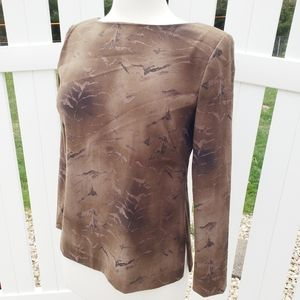 Maggy London Brown soft stretch snakeskin blouse